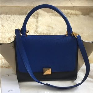 Celine Trapeze tricolor all leather Small, auth